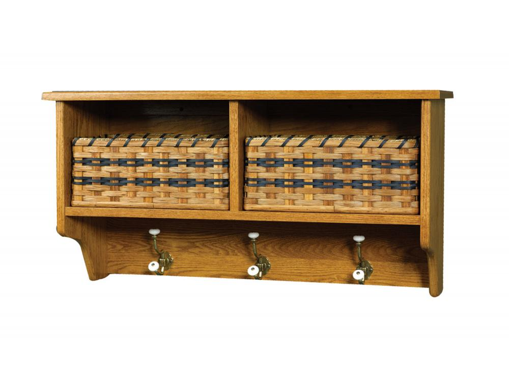 Jakes Amish Furniture 50 30 Wall Shelf With 2 Baskets