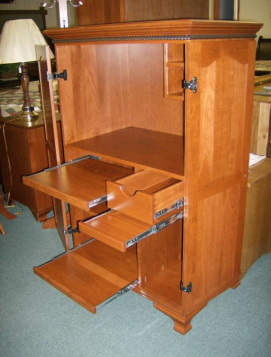 Jakes Amish Furniture MWMCA Mini Computer Armoire Open