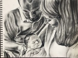 Pencil and charcoal drawing, Matt, Katie and Addison's First Christmas, November 2017