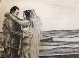 Pencil and charcoal. Lyz and Tyler Smith's wedding on the beach in Ocean City, Md, July 9, 2018.