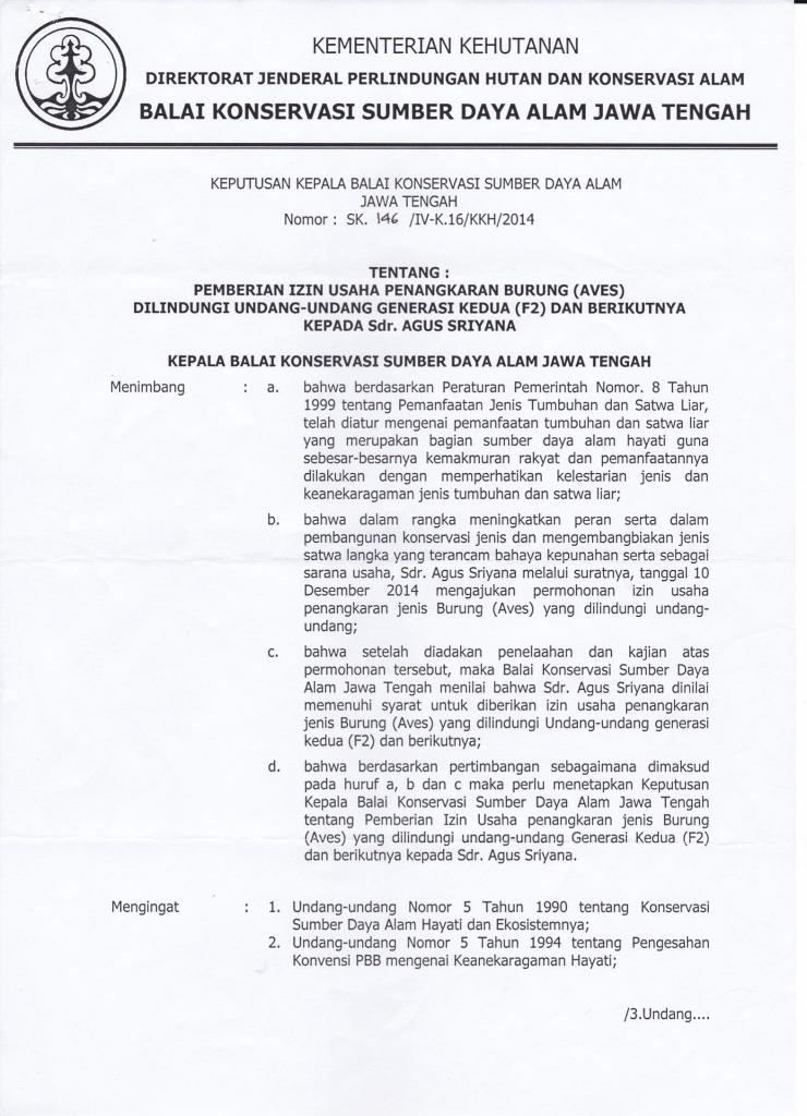 Izin Usaha Penangkaran Burung - Jalak Putih dan Jalak Bali