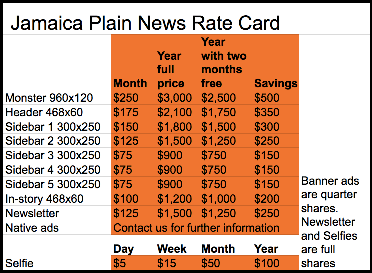 Jamaica Plain News ratecard December 2016