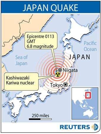 japanese earthquake nuclear reactor tsunami map