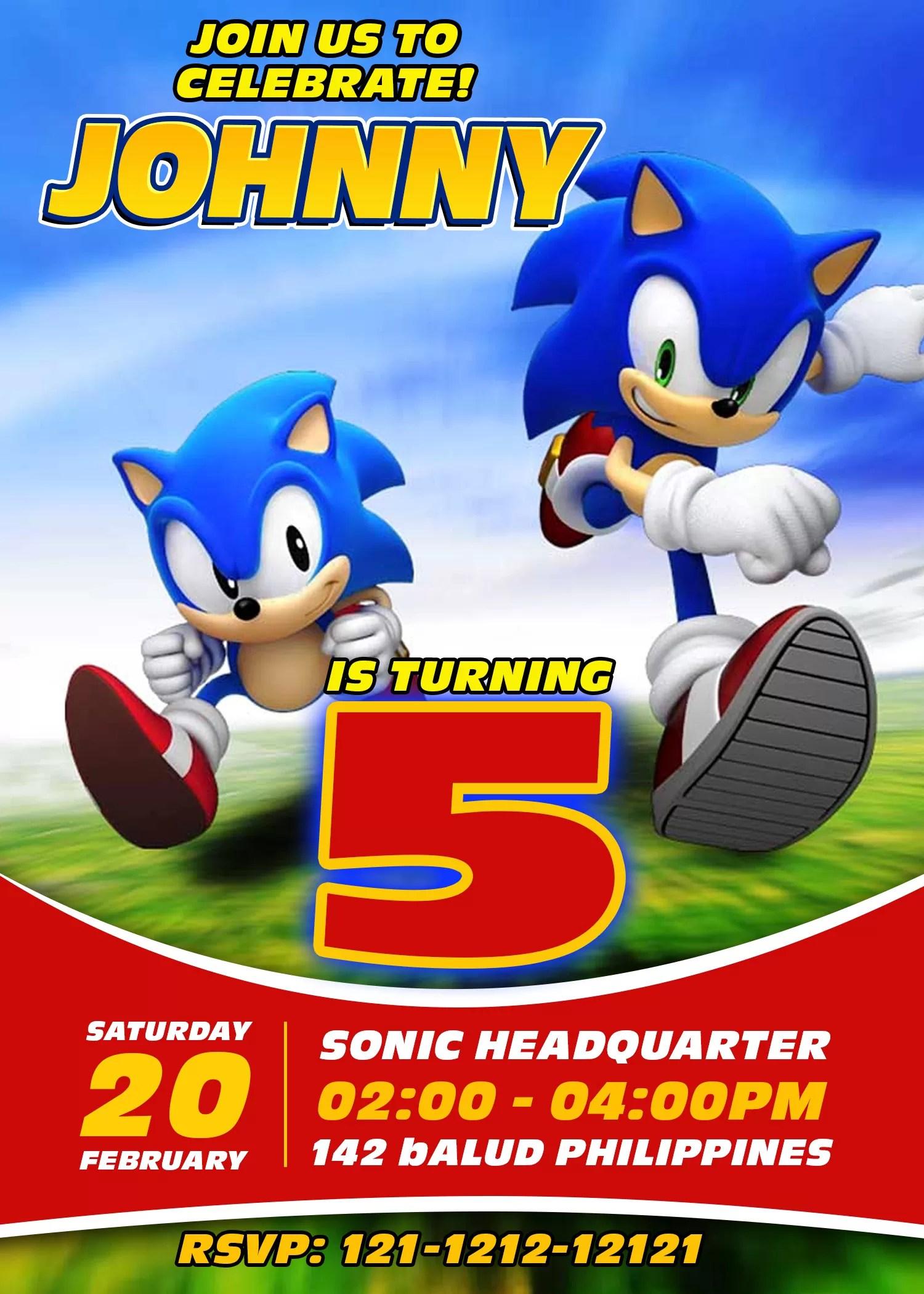 Sonic The Hedgehog Birthday Party Invitation 4 X 6 Or 5 X 7 Printable Jamakodesigns Jamakodesigns
