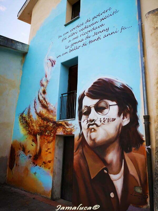 Street art a Savuci - Fabrizio De Andrè realizzato da Leonardo Cannistrà