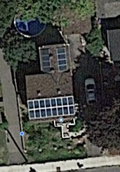Satellite image showing the top of our roof.