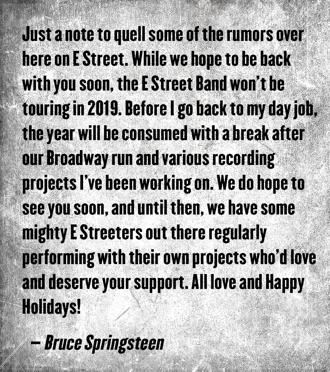 springsteen 2019 statement