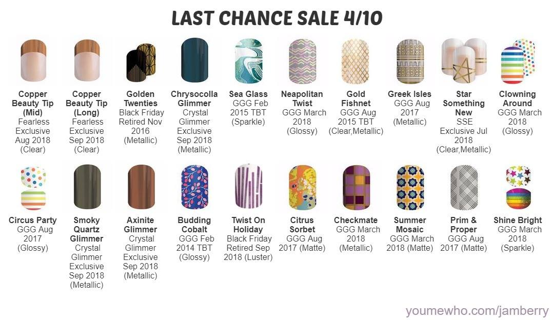 Jamberry last chance sale wraps. Get them before they are gone forever. Retiring favourites back for one last chance.