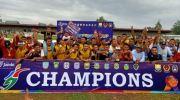 PS Merangin selebrasi usai jadi jawara Gubernur Cup Jambi 2020. Foto: Evo/Jambiseru.com