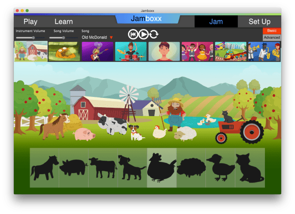 The farm animals in the Jamboxx JAM mode.