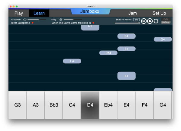 The Jamboxx LEARN mode. Play the right notes as they fall down the screen.