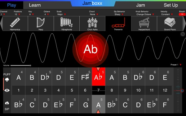 The Jamboxx free-play mode. Select your instrument, key, scale and octave.