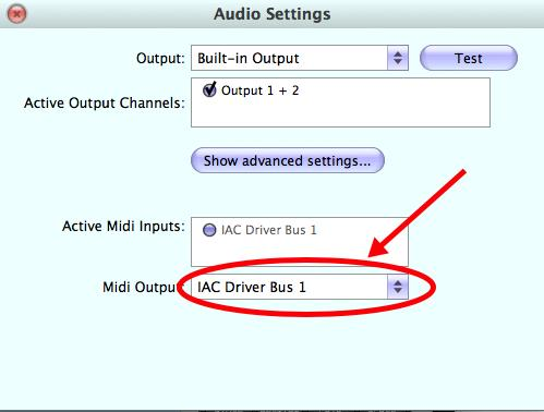Set MIDI output to AAC Driver Bus