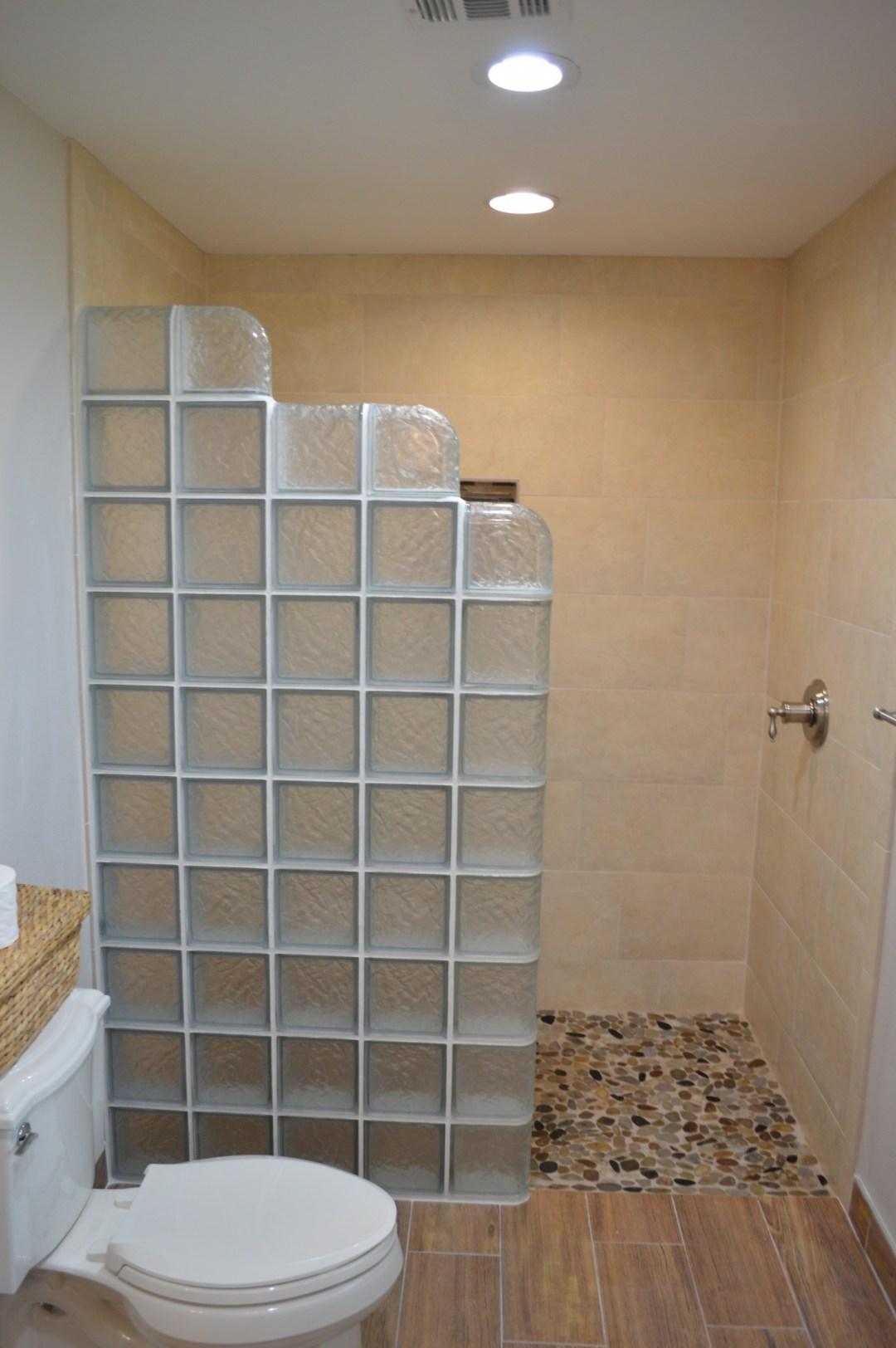 glass block and wood plank flooring