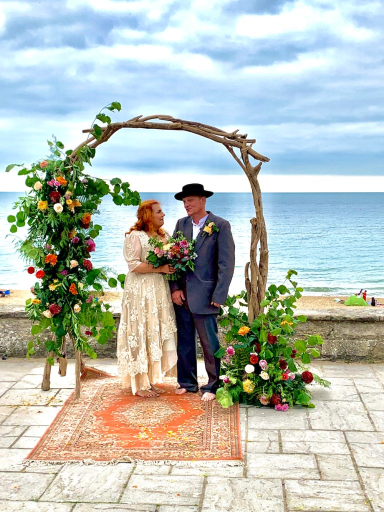 Bride and Groom by Beach