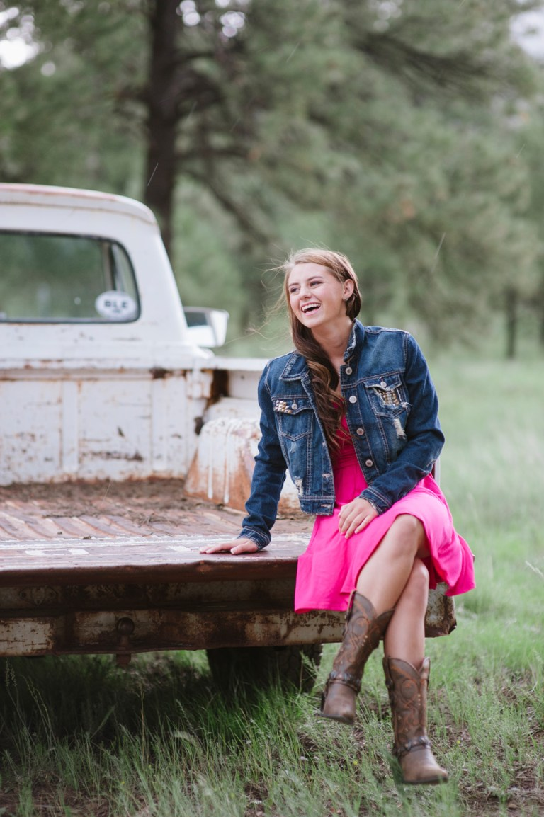 senior session with old truck