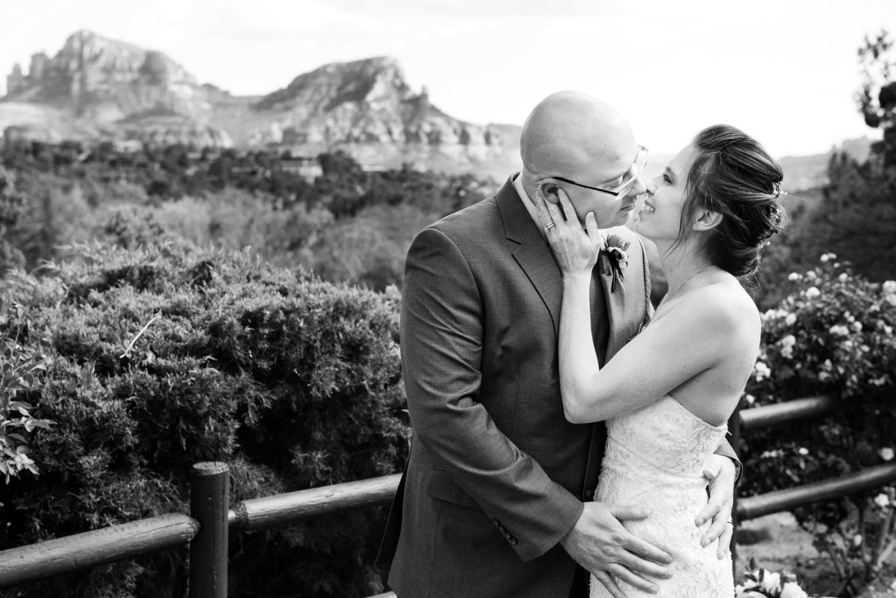 black and white wedding photo in Sedona