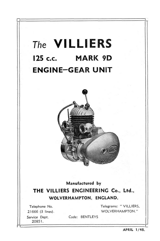 Villiers 9D Owners Manual and Spares List