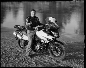 Jim Clark on his Suzuki 1000 VStrom motorcycle at Bill Dragoo's Adventure Training camp in Lexington, Oklahoma