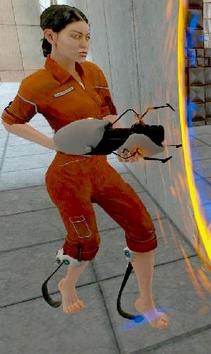 Chell from Portal 1 wears an orange jumpsuit