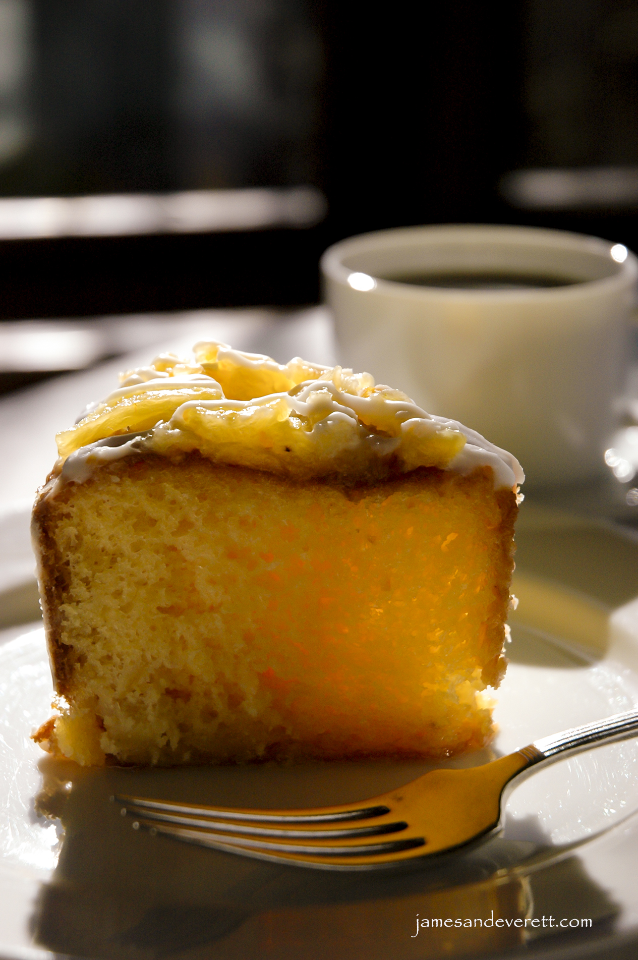 Glazed Pineapple Cake with Almond Rum Icing