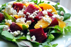 Beet and orange salad with feta cheese