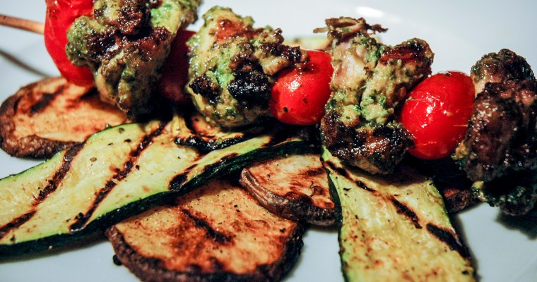 Grilled Pesto Chicken Kebabs