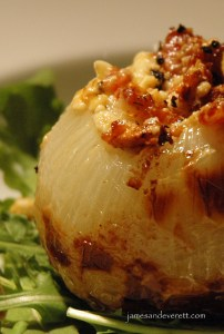 Grilled blue cheese and bacon stuffed onion recipe