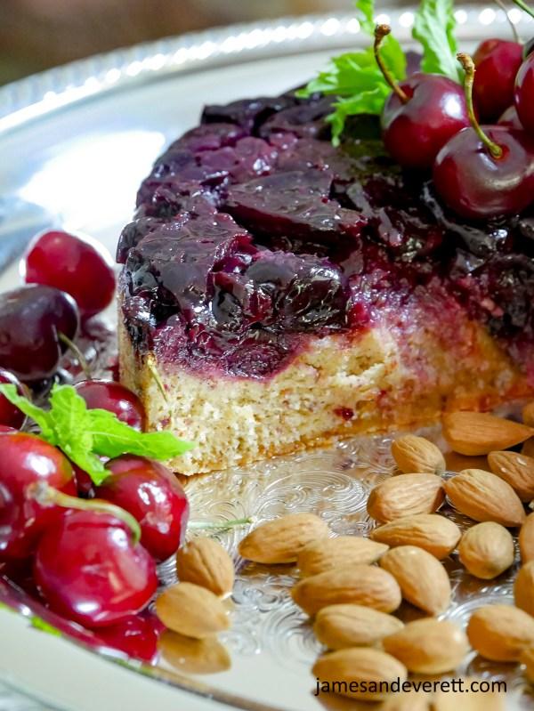 Cherry Almond Upside Down Cake Recipe