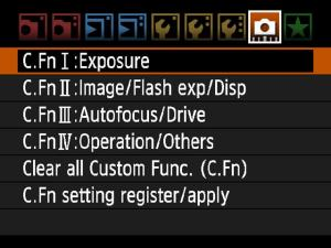 Camera custom functions