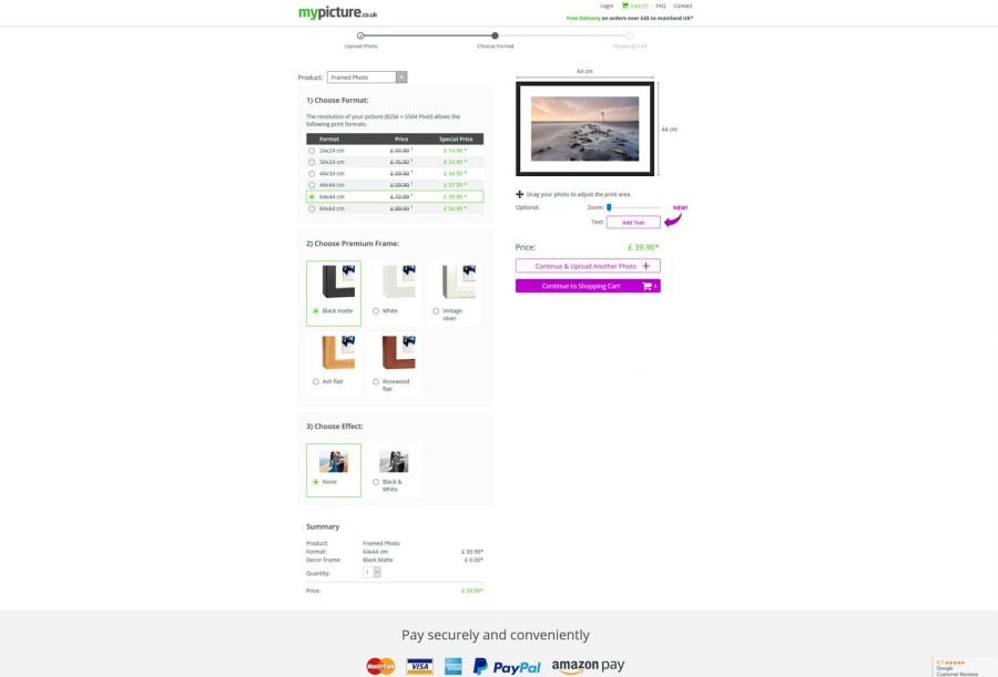 My-Picture.co.uk order webpage