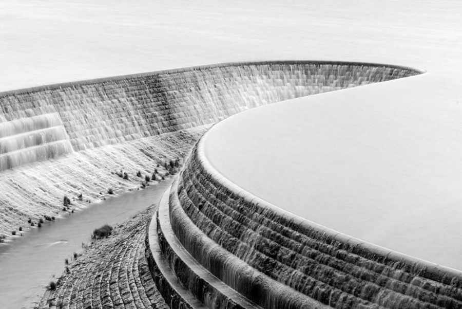 Long exposure of a reservoir overspill in the Peak District, UK.