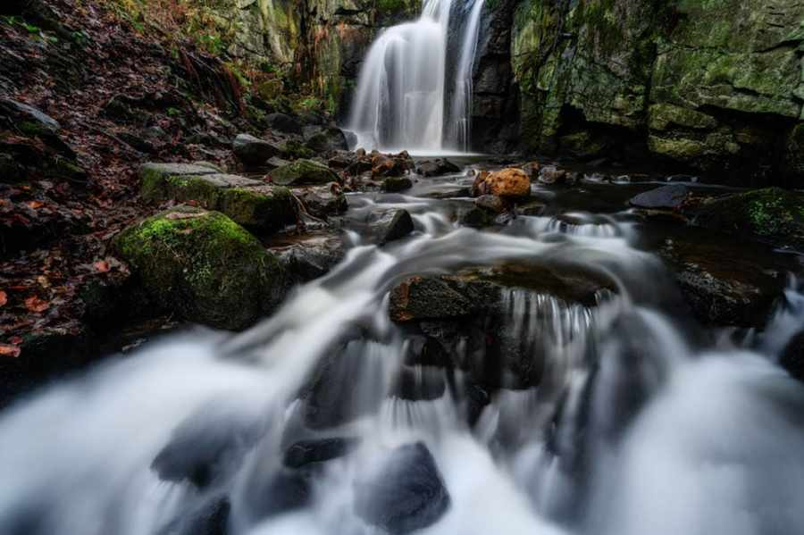Lumsdale upper falls near Matlock in Derbyshire