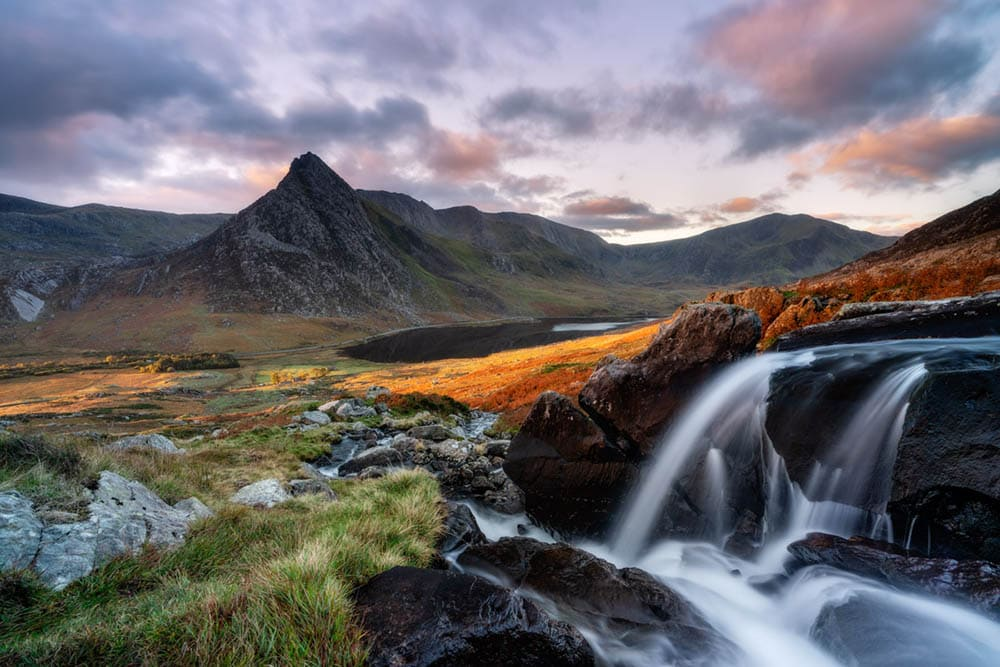 Looking out over Tryfan and the Ogwen Valley at sunrise on an autumn morning.