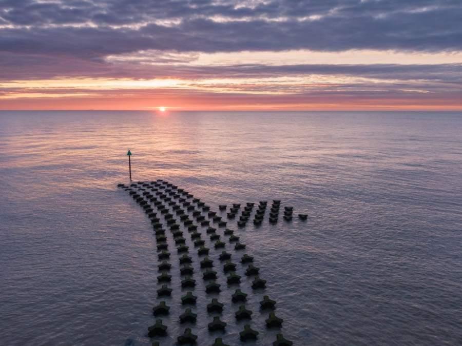 HDR image of Cobbalds Point in Felixstowe at sunrise shot on a DJI Mavic 2 Zoom.