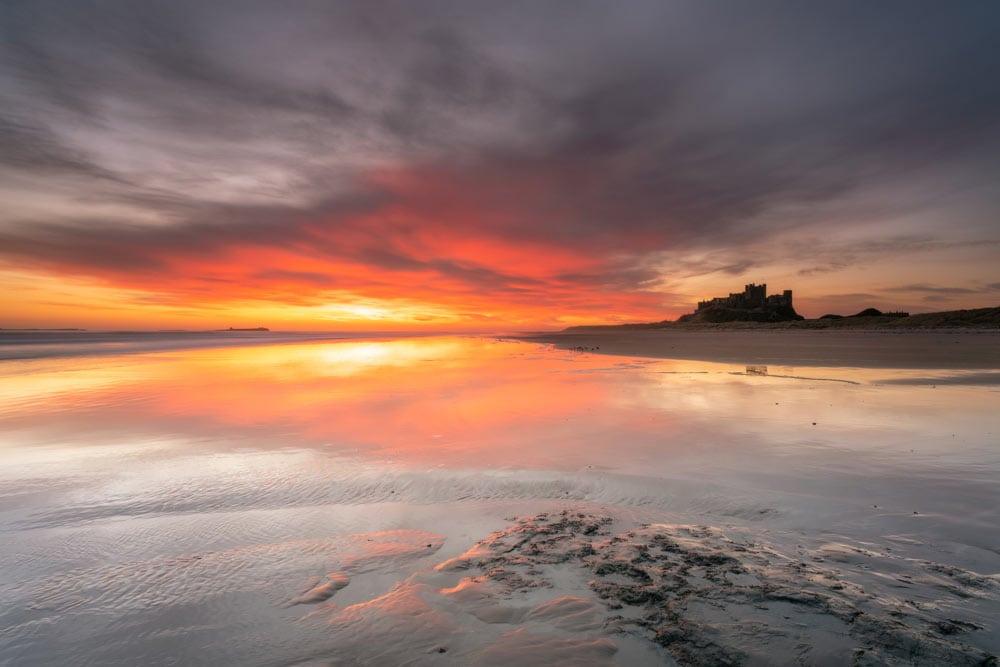 Sunrise on Bamburgh Beach shot with the Sony FE 20mm f/1.8