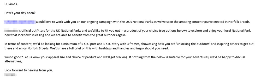 Influencer email