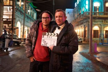 Cary Fukunaga and Daniel Craig on the set of No Time To Die