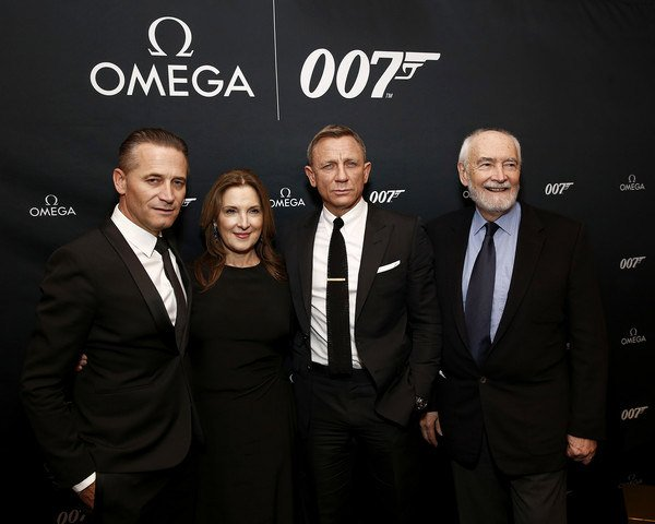 Raynald Aeschlimann, Barbara Broccoli, Daniel Craig and Michael G. Wilson at the OMEGA Bond Watch Unveiling