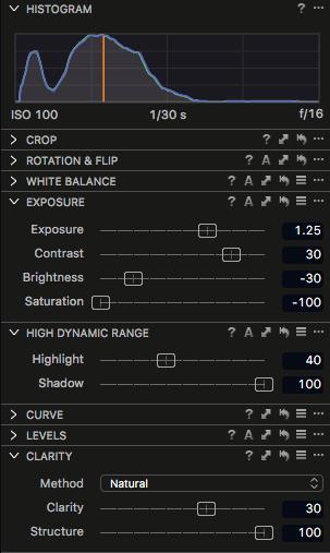 Capture One Pro 9 Adjustments panel