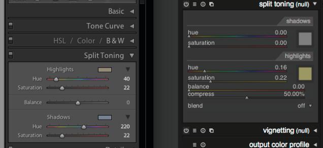 LR5 split tone compare