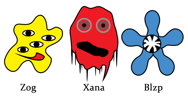Three Aliens: Zog, Xana and Blzp