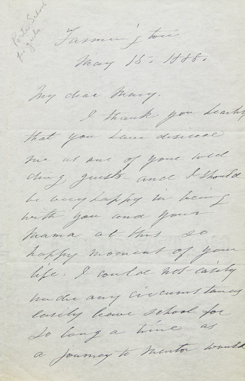 Autograph Letter Signed By Sarah Porter Regretfully Declining A Wedding Invitation Due To Pressing Concerns At Her School Miss S