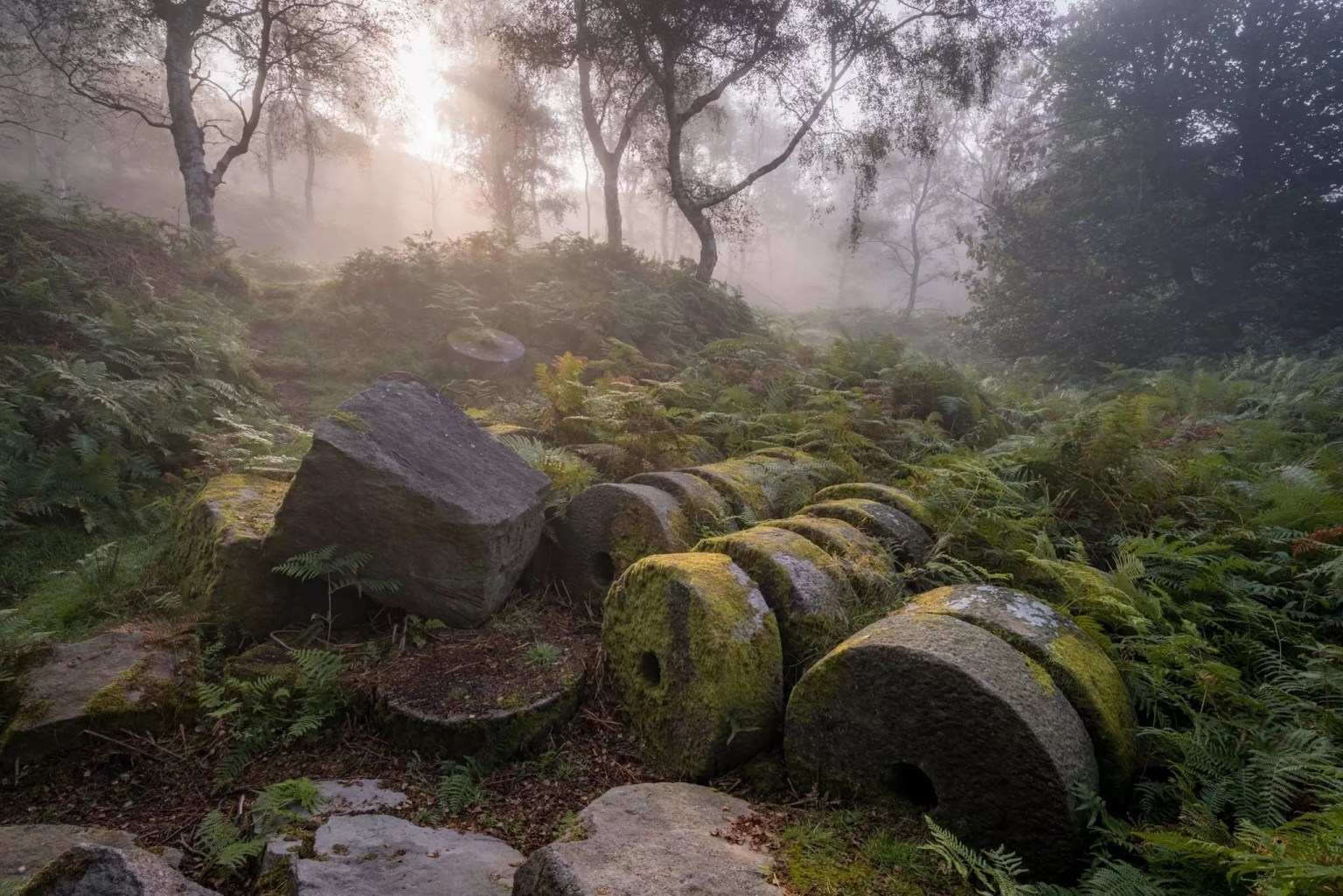 Bole Hill Millstones in the Mist - Autumn in the Peak District Photography Workshop