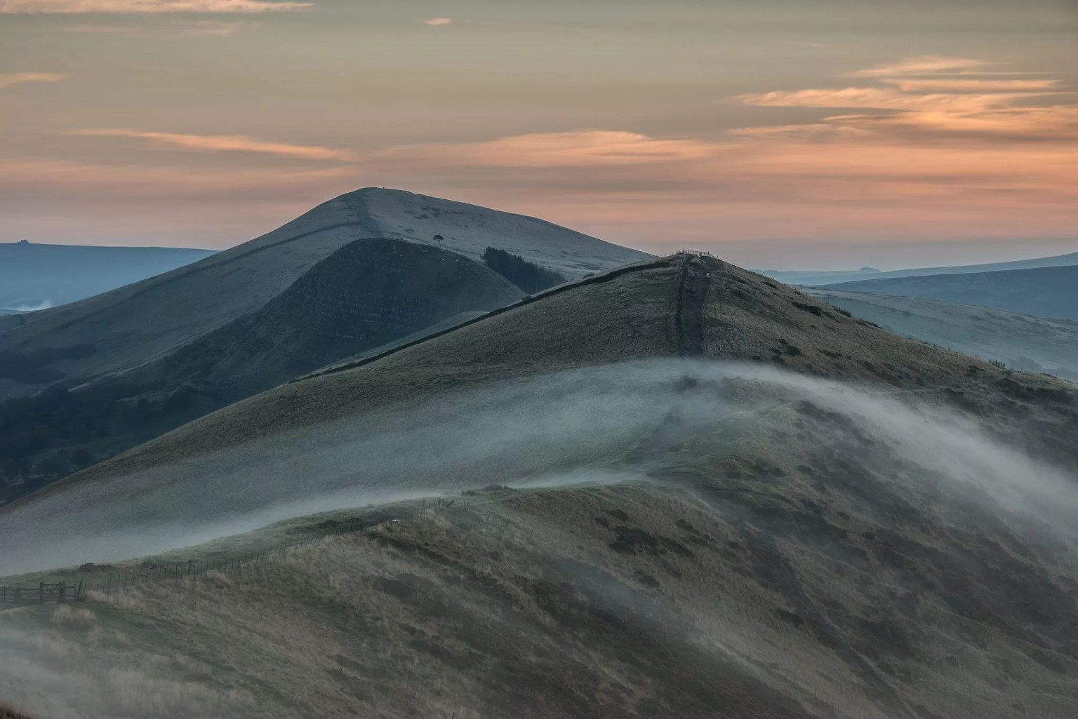 Back Tor and Lose Hill on the Great Ridge as seen from Mam Tor as mist creeps over it - Mam Tor Photography Location Guide