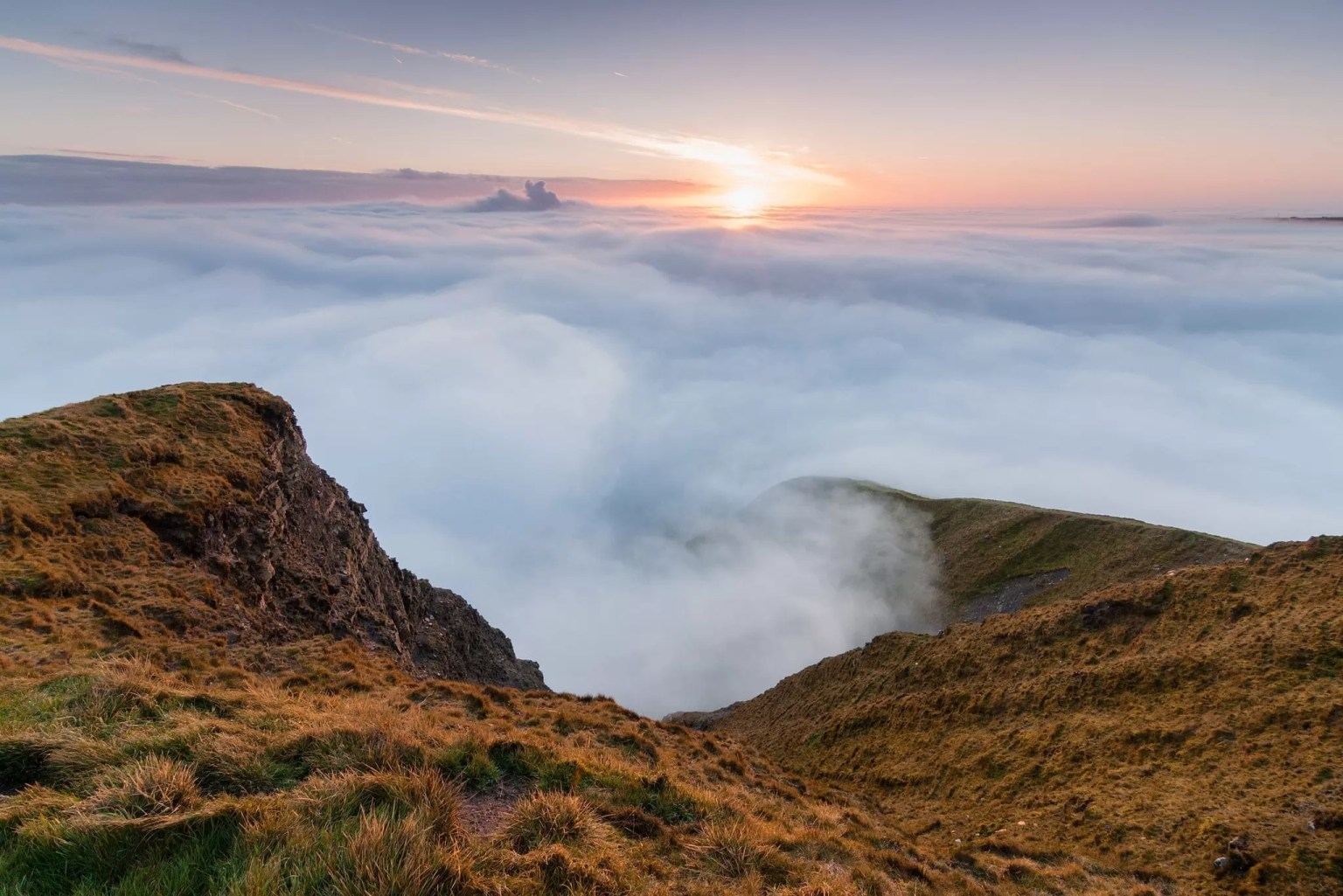 A cloud inversion at sunrise from the landslip on Mam Tor in Autumn - Mam Tor Photography Location Guide