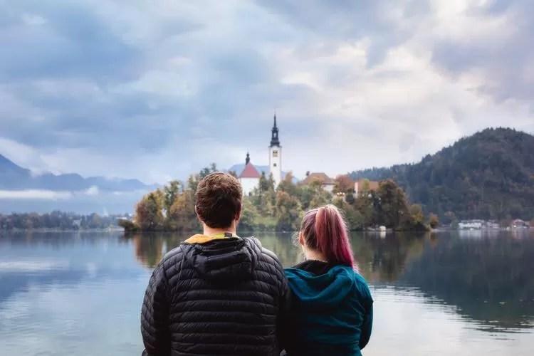 Sarah and James admiring Lake Bled