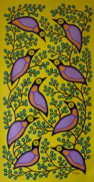 """""""Starlings and Blueberries"""" Acrylic on canvas 66"""" x 36"""" unstretched"""