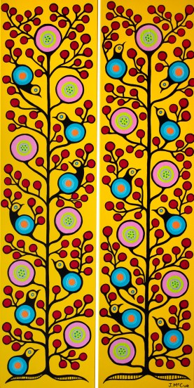 """""""Birds and Cherries 1 & 2"""" Diptych Acrylic on canvas 48"""" x 24"""" stretched"""