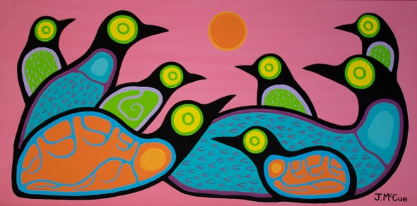"""""""Roosting"""" Acrylic on canvas 18"""" x 36"""" stretched"""
